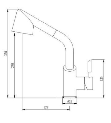 Burgtal 10772 K-2-NC Thalia Einhebel Spültisch Armatur Brause Niederdruck Chrom - 3