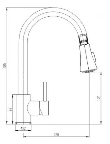 Burgtal 10796 K-3-NE Linurg Einhebel Spültisch Armatur Brause Niederdruck Edelstahl-Look - 3