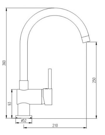 Burgtal 10848 K-8-NC Vantila Einhebel Spültisch Armatur Niederdruck Chrom - 3