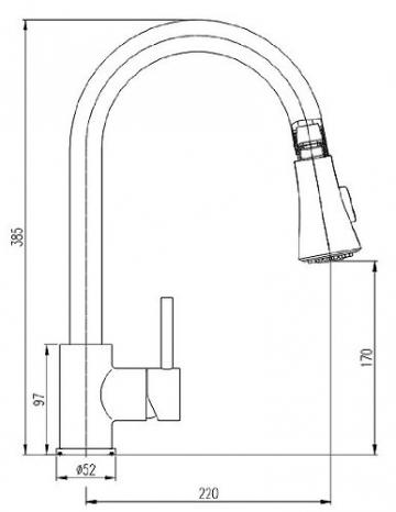 Burgtal 16720 K-3-NGS Einhebel Niederdruck Spültischarmatur mit Brause Linurg granit-schwarz - 3