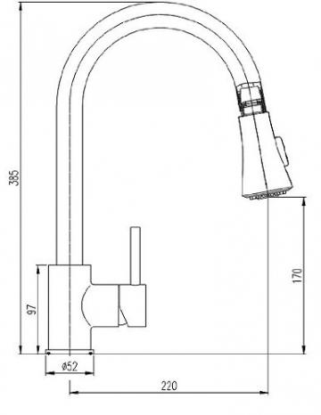 Burgtal 17444 K-20-NC Tarsia Einhebel Spültisch Armatur Brause Niederdruck Chrom - 3