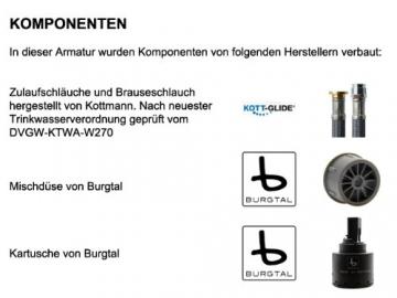 Burgtal 17459 K-21-NC Aria Einhebel Spültisch Armatur Brause Niederdruck Chrom - 4