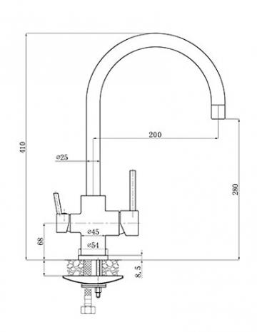 Burgtal 17618 K-26-NE Anis Einhebel Niederdruck Spültisch Armatur mit Geräteanschluss Edelstahl matt - 2