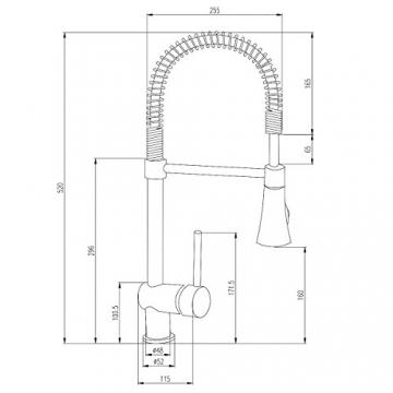Burgtal 17809 K-5-NE Ruca Niederdruck Einhebel Spültisch Armatur Feder Brause Edelstahl - 2
