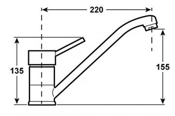 Cornat DAB52 1397 Dabar Spültisch-Einhebelmischer Niederdruck mit schwenkbarem Auslauf, chrom - 2