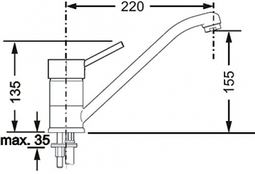 Cornat DAB52 1397 Dabar Spültisch-Einhebelmischer Niederdruck mit schwenkbarem Auslauf, chrom - 3
