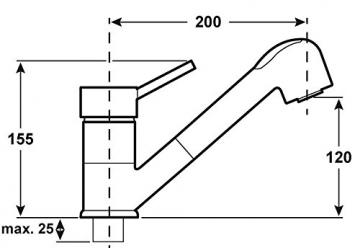 Cornat DAB535 Dabar Spültisch-Niederdruck-Einhebelmischer mit Umschaltbrause, chrom - 2