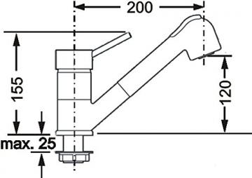 Cornat DAB535 Dabar Spültisch-Niederdruck-Einhebelmischer mit Umschaltbrause, chrom - 3