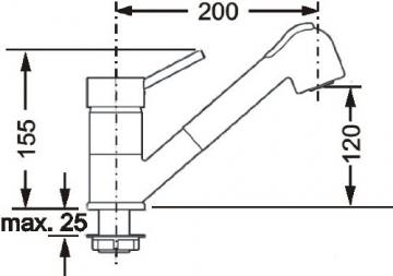 Cornat DAB535 Dabar Spültisch-Niederdruck-Einhebelmischer mit Umschaltbrause, chrom - 4