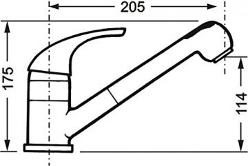 Cornat Lara Spültisch-Einhebelmischer mit Brause und schwenkbarem Auslauf, chrom, Niederdruck, LA535 - 3