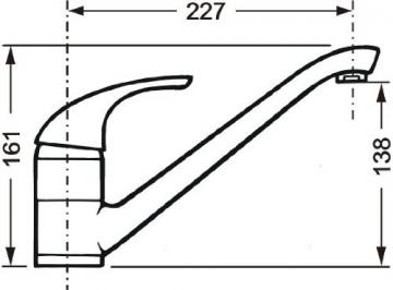 Cornat P52 977 Punto Spültisch-Einhebelmischer Niederdruck mit schwenkbarem Auslauf, chrom - 2