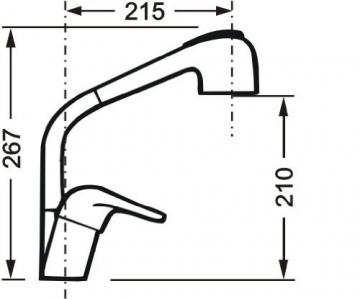 Cornat P52 977 Punto Spültisch-Einhebelmischer Niederdruck mit schwenkbarem Auslauf, chrom - 3