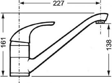 Cornat P52 977 Punto Spültisch-Einhebelmischer Niederdruck mit schwenkbarem Auslauf, chrom - 4