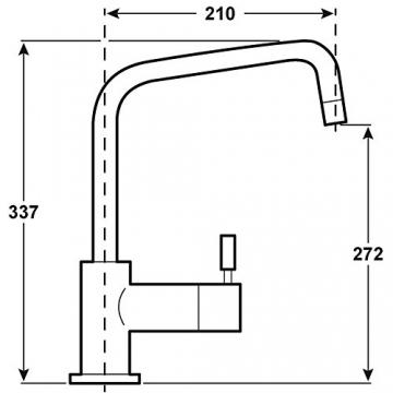 Cornat SH52 1507 Shark-Spültisch-Einhebelmischer-Niederdruck mit schwenkbarem Auslauf, chrom - 2