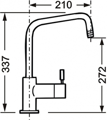Cornat SH52 1507 Shark-Spültisch-Einhebelmischer-Niederdruck mit schwenkbarem Auslauf, chrom - 3
