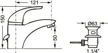 Cornat STI12 1689 Stilo Waschtisch-Einhebelmischer Niederdruck, chrom - 3