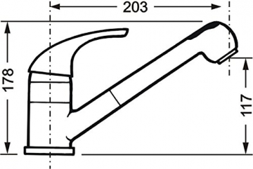 Cornat STI535 1700 Stilo Spültisch-Einhebelmischer Niederdruck mit Brause und schwenkbarem Auslauf, chrom - 2