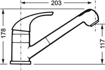 Cornat STI535 1700 Stilo Spültisch-Einhebelmischer Niederdruck mit Brause und schwenkbarem Auslauf, chrom - 10