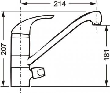Cornat Stilo Spültisch-Einhebelmischer mit Maschinenanschluss und schwenkbarem Auslauf, chrom, Niederdruck, STI5641 - 2