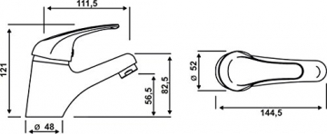 Cornat YA12 Yago Waschtisch Einhebelmischer Niederdruck, chrom - 4