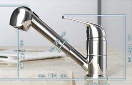 Design Küchenarmatur /Wasserhahn / Spültischarmatur mit ausziehbarer Brause KA11D - 4