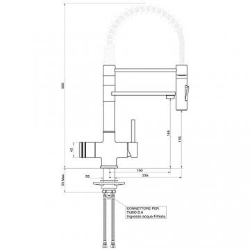 Designer Spiralfeder-Drei-Wege-NIEDERDRUCKARMATUR LUXURY, Chrom für kaltes, heißes und gefiltertes Wasser. Ein Eyecatcher für eine niveauvolle, moderne und ästhetische Küche! Gastrobrause 360° schwenkbar! Einzigartig und patentiert! Made in Italy! - 2