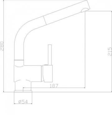 Exclusive VAF Armatur Niederdruckarmatur Ausziehbar -Sparkartusche -Spültischarmatur-Küchenarmatur-Chrom Niederdruck-Hahn nach oben gebogen Made in Germany - 3