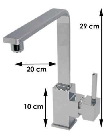 Falcone Armaturen 10072 K-7-NC Quaddro Einhebel Spültisch Armatur Niederdruck Chrom - 2