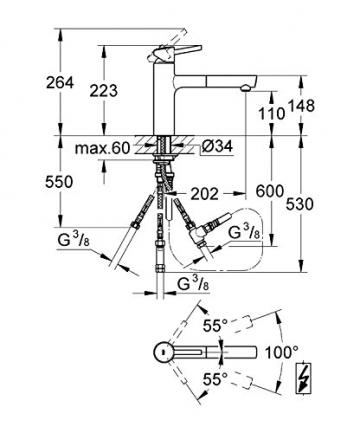 GROHE Concetto Küchenarmatur, mittelhoher Auslauf zum Herausziehen, Schwenkbereich 100°, Niederdruck 31214001 - 2