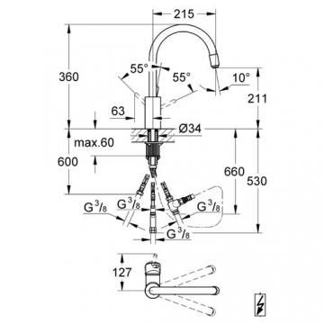 Grohe Einhebel-Spültisch-Batterie Concetto Niederdruck Bogenauslauf ausziehbar Mousseur # 31212001 - 2