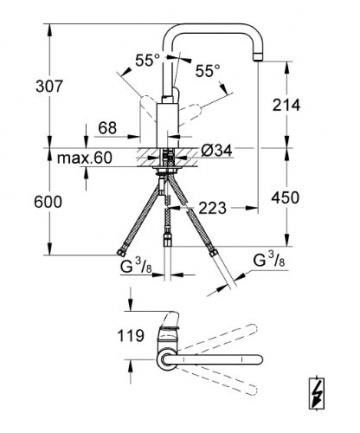 GROHE Eurodisc Cosmopolitan Einhand-Spültischbatterie, hoher Auslauf, mit Niederdruck für offene Warmwasserbereiter 31242002 - 2