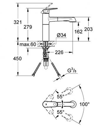 GROHE Europlus Einhand-Spültischbatterie mit Einlochmontage, herausziehbare Spülbrause 33933002 - 2