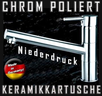 Hochwertige Niederdruck Küchenarmatur mit Schwenkauslauf in Chrom poliert-Spülenarmatur (3 Anschlüsse für Boiler) - 4
