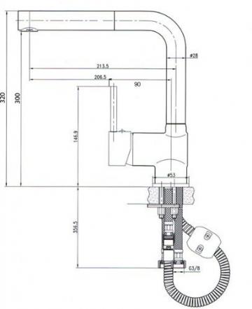 Hochwertige Niederdruckarmatur-Küchenarmatur-Ausziehbar-8899 ED-Edelstahlfinish-Vogtlandarmatur-Handmade-VAF-Küchenarmatur - 2