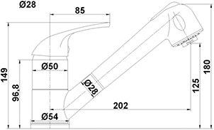 Hochwertige NIEDERDRUCKARMATUR EHM, Niederdruck, Chrom Einhebelmischer mit SEDAL-Keramikkartusche, Sparfunktion, verstellbarer Brausekopf, Schwenkbereich: 90°,-VAF - 2
