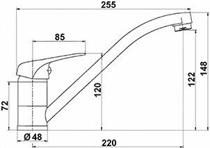 Hochwertige NIEDERDRUCKARMATUR EHM, Niederdruck, Chrom -Einhebelmischer mit SEDAL-Keramikkartusche, Sparfunktion,Schwenkbereich: 90°,-VAF - 2