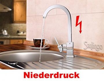 Niederdruck Designer Spültisch Küchen Armatur Küchenarmatur Einhebel Chrom Sanlingo - 2