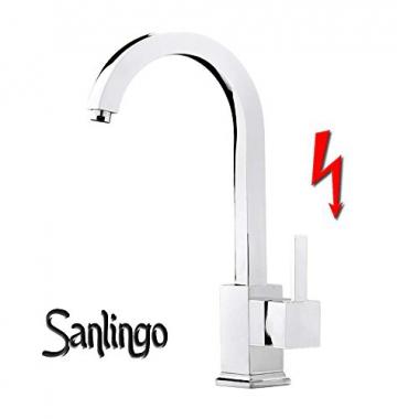 Niederdruck Designer Spültisch Küchen Armatur Küchenarmatur Einhebel Chrom Sanlingo - 1