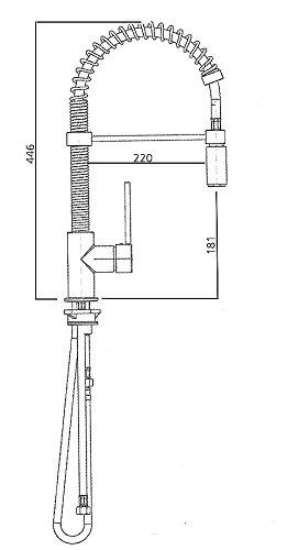 Niederdruck Gastro Spiralfeder Spültischarmatur Küchenarmatur, Metall-Geschirrbrause herausziehbar - 2