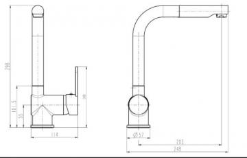 Niederdruck Küchenarmatur Spültischarmatur mit herausziehbarer Geschirrbrause edelstahlfarben - 3
