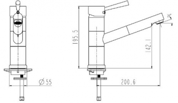 Niederdruck Küchenarmatur Spültischarmatur mit herausziehbarer Geschirrbrause chrom - 2