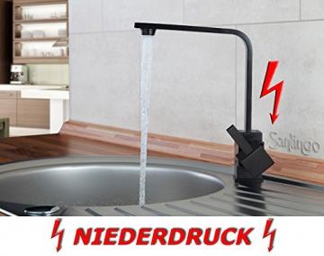 Niederdruck Spültisch Küchen Armatur schönes Design Schwarz Sanlingo - 2