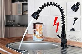 Niederdruck Spültisch Küchen Armatur schönes Design 2 Strahlarten Schwarz Sanlingo - 1