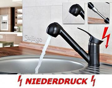 Niederdruck Spültisch Küchen Armatur schönes Design 2 Strahlarten Schwarz Sanlingo - 2