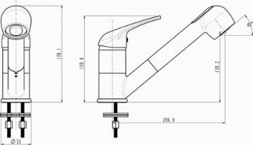 Niederdruck Spültischarmatur Küchenarmatur mit umstellbarer Geschirrbrause in weiß - 2