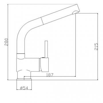 Niederdruckarmatur-Küchenarmatur-Spültischarmatur-Einhebelarmatur-ausziehbar-Nr.8869-Chromausführung - 2