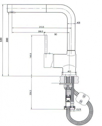 Niederdruckarmatur-Küchenarmatur-Ausziehbar -8899 Chrom-Vogtlandarmatur-Handmade - 2
