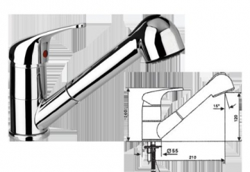 Spültischarmatur-Niederdruckdruckarmatur-Einhebelmischer verchromt Standmodell mit Schwenkauslauf mit herausziehbarer Geschirrbrause Keramik-Kartusche mit Temperatur- und Mengenregulierung Flexible Anschluss-Schläuche 520 mm-Serie:BERLIN-von Prosan - 2