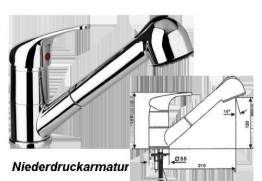 Spültischarmatur-Niederdruckdruckarmatur-Einhebelmischer verchromt Standmodell mit Schwenkauslauf mit herausziehbarer Geschirrbrause Keramik-Kartusche mit Temperatur- und Mengenregulierung Flexible Anschluss-Schläuche 520 mm-Serie:BERLIN-von Prosan - 1