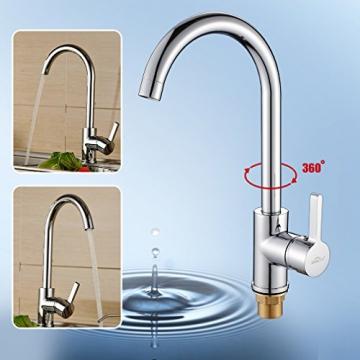 Auralum® 360° Drehbar Niederdruck Wasserhahn Niederdruck Mischbatterie Küchenarmatur - 3